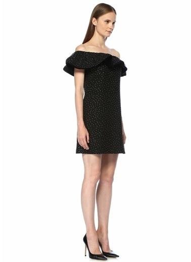 Beymen Collection Kayık Yaka Taş Baskılı Mini Elbise Siyah